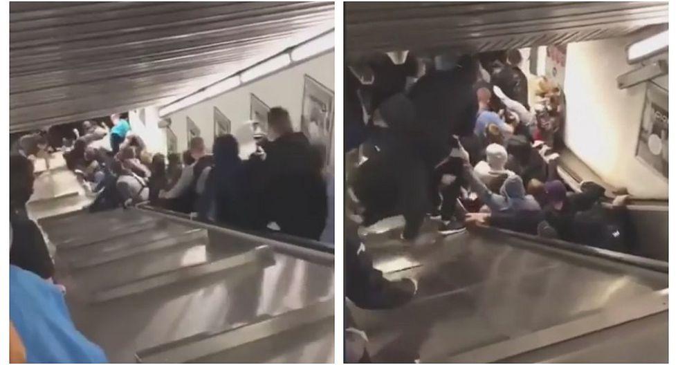 Hinchas del CSKA de Moscú heridos tras derrumbe de escalera mecánica en Roma (VIDEO)