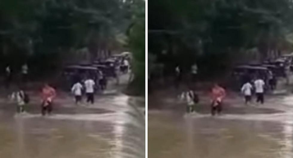 Escolares arriesgan su vida cruzando caudaloso río por ir a clase en región San Martín (VIDEO)