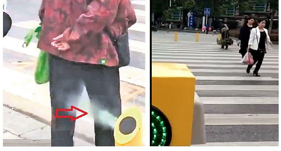 Moderno sistema moja a peatones que no respetan semáforo (VIDEO)